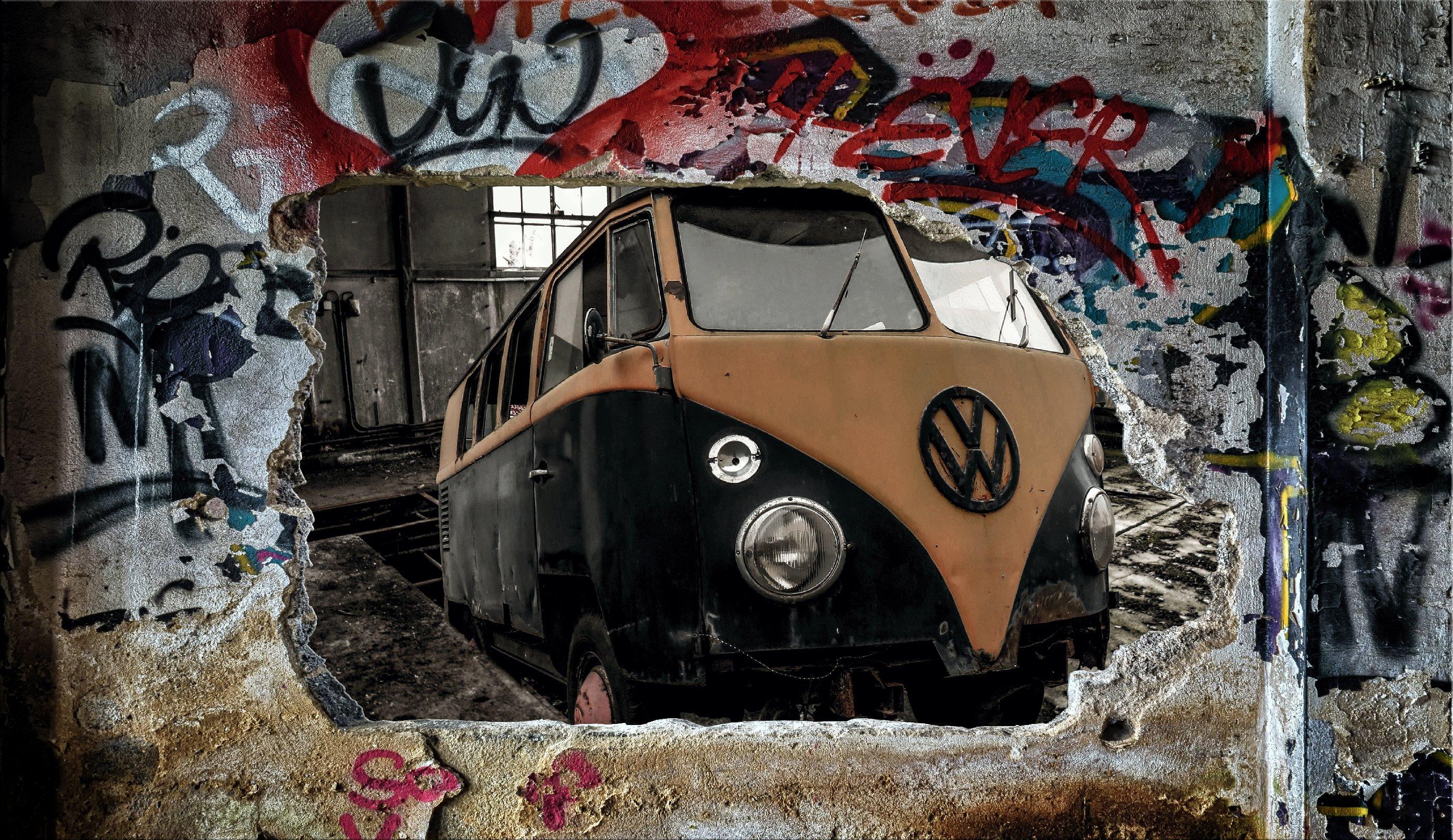 "Wandbild Fototapete /""VW Bulli /"" Poster XXL Tapete Vlies WA6"